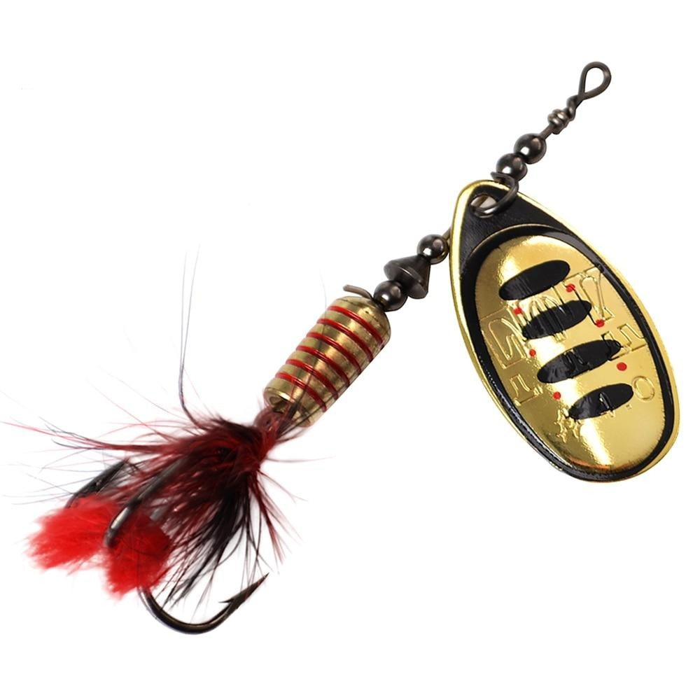 FTK 1pc Spinner Bait 7.5g 12g 17.5g Hard Spoon Bass Lures Metal Fishing Lure With Feather Treble Hooks For Pike Fishing