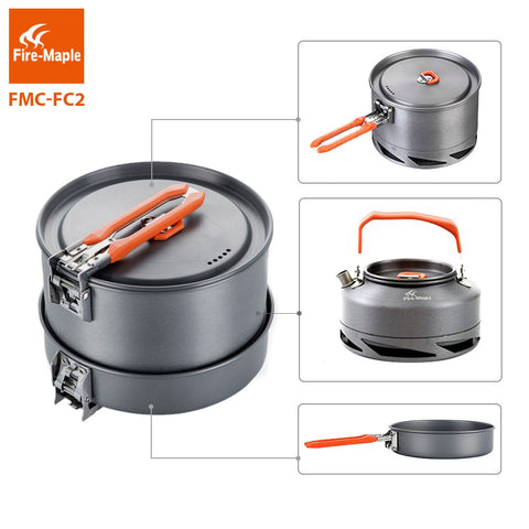 Fire Maple Camping Utensils Dishes Cookware Set Picnic Hiking Heat Exchanger Pot Kettle FMC-FC2