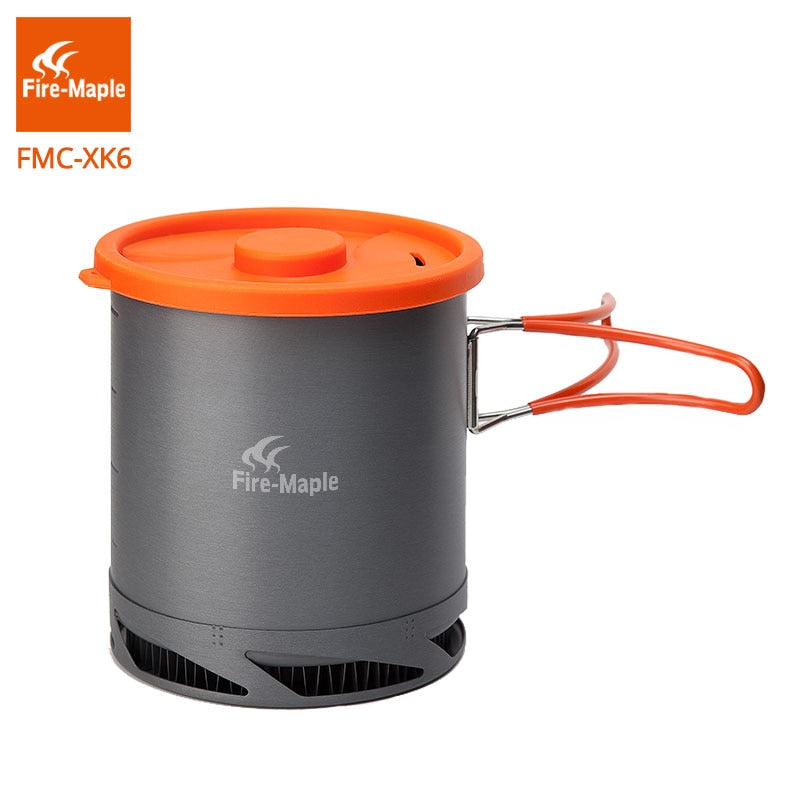 Fire Maple FMC-XK6  Heat Exchanger Pot 1L Foldable Cooking Pots with Mesh Bag Outdoor Camping