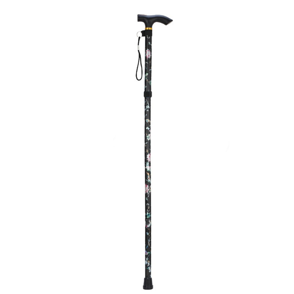 Five-section Non Slip Cane Travel Sturdy Patterned Printed Folding Adjustable Walking Stick Crutches