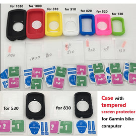 Generic skin Case w Tempered Screen Protector film for Garmin GPS bike Computer garmin edge 130 510 520 plus 530 830 820 1000