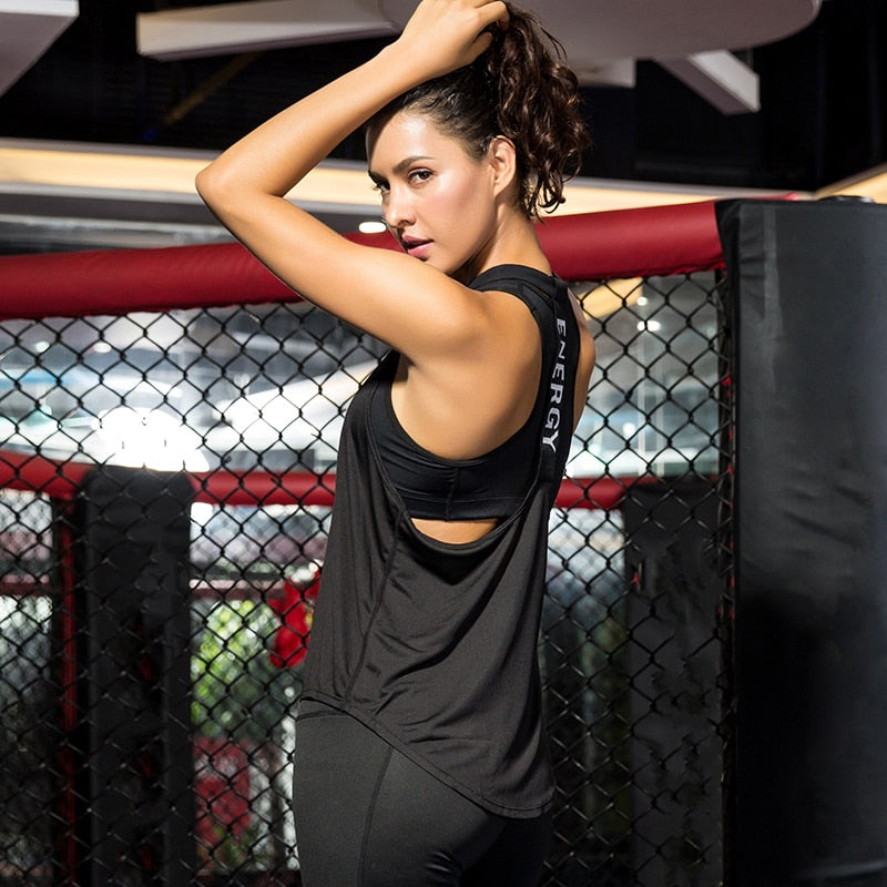 Gym Top Black Sleeveless Yoga Top Gym Women Shirt Fitness T-Shirts Dry Workout Tops Sports Tops