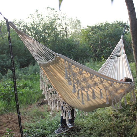 Hammock Boho Large Brazilian Macrame Fringe 2 Person Double Deluxe Hammock Swing Net Chair indoor