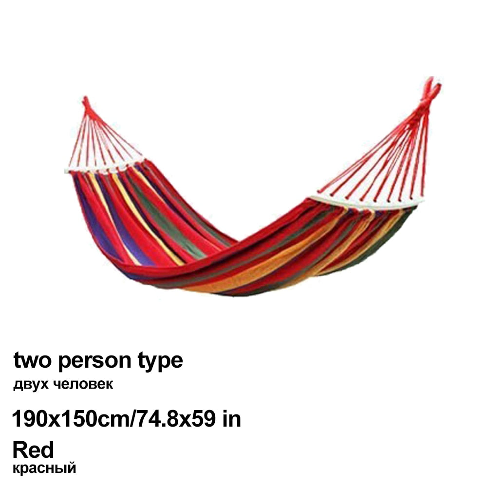 HooRu Portable Canvas Hammock Travelling Outdoor Picnic Wooden Swing Chair Camping Hanging Bed