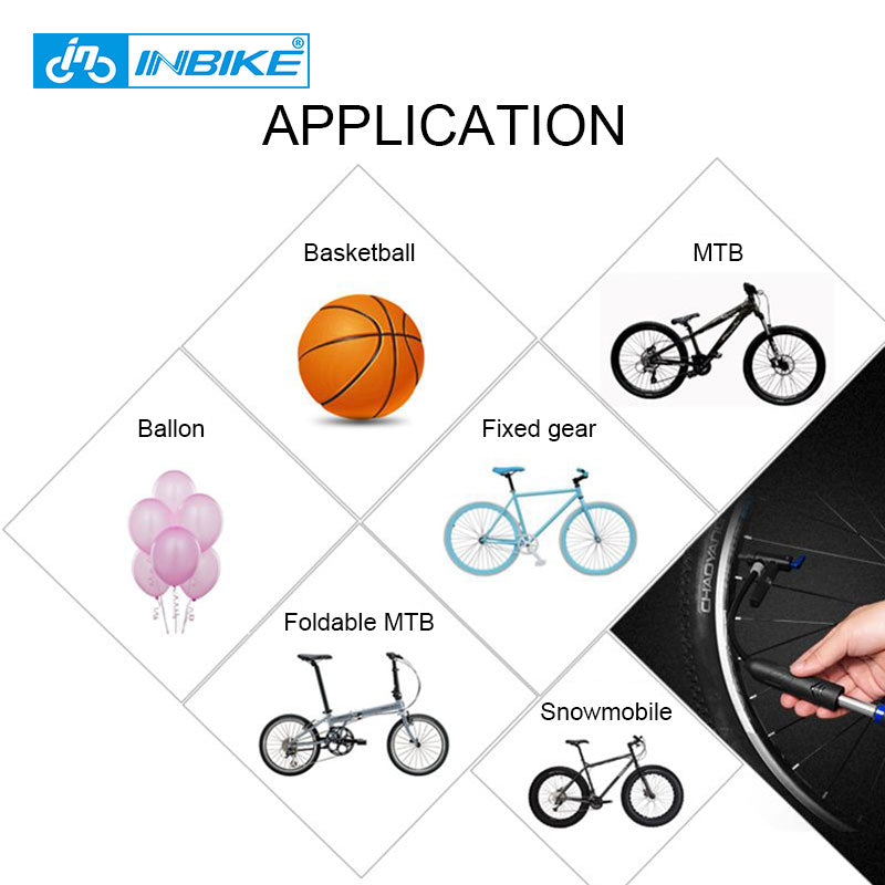 INBIKE Portable Bicycle Pump Mini Hand Pump Cycling Air Pump Ball Toy Tire Inflator Schrader