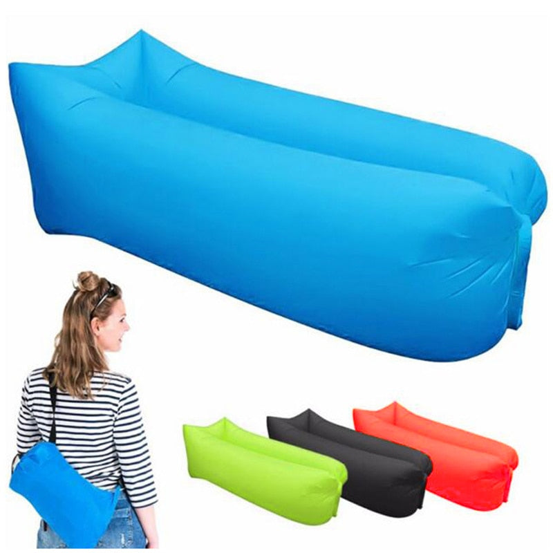 Inflatable Lounger Air Sofa Lightweight Beach Sleeping Bag Air Hammock Folding Rapid Inflatable Sofa