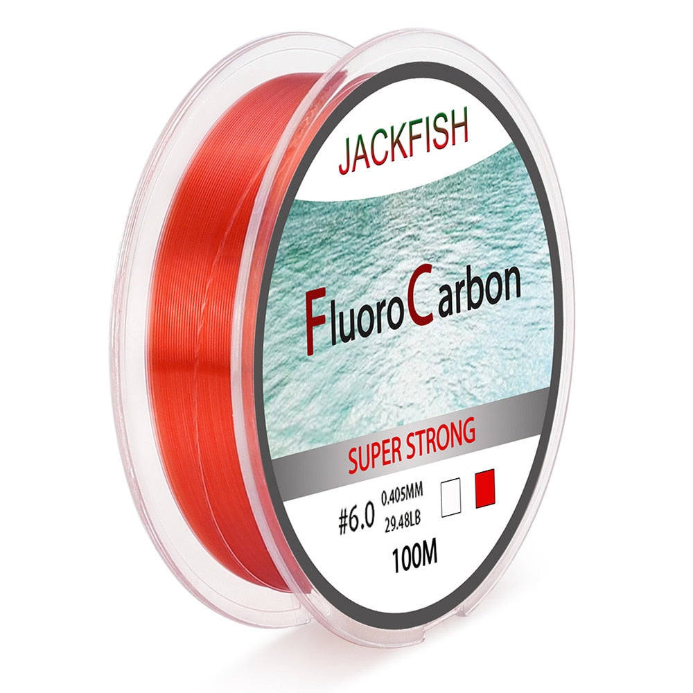 JACKFISH 100M Fluorocarbon Fishing Line  red/clear two colors 4-32LB Carbon Fiber Leader Line  fly