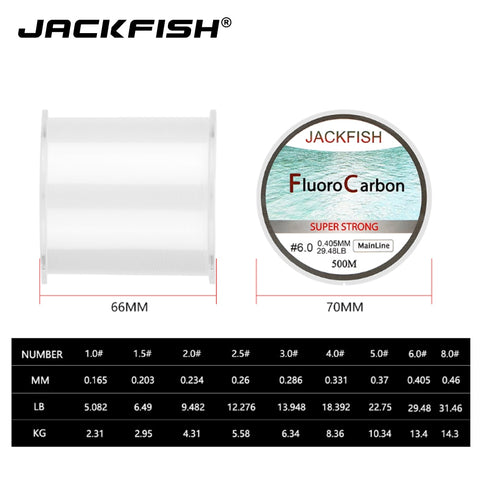 JACKFISH 500M Fluorocarbon fishing line 5-30LB Super strong brand Main Line clear fly fishing line