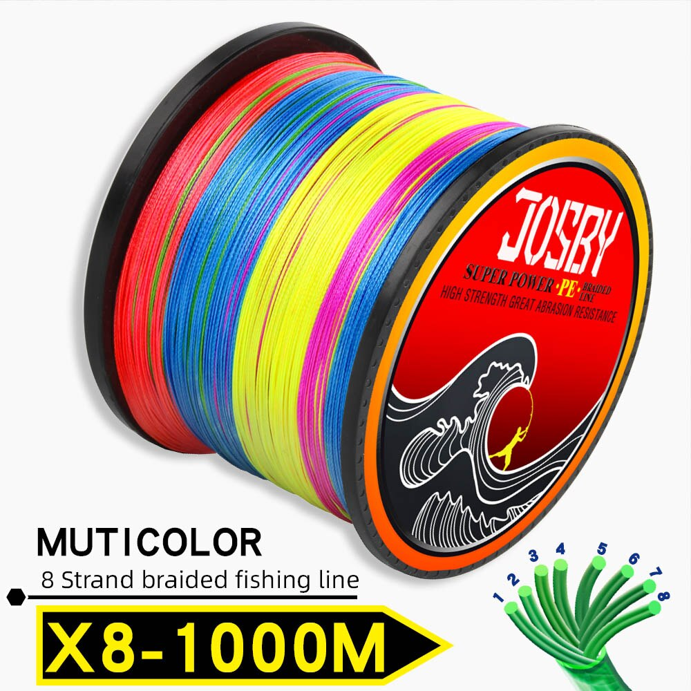 JOSBY 300M 500M 1000M  8 Strands 10-78LB New PE Braided Fishing Wire Multifilament Super Strong