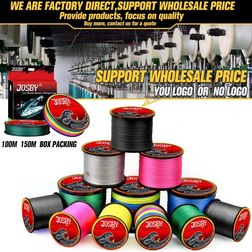 JOSBY 4 Braid Fishing line 10-120LB 150M 300M 500M 1000M 4 Strands Braid Fishing line