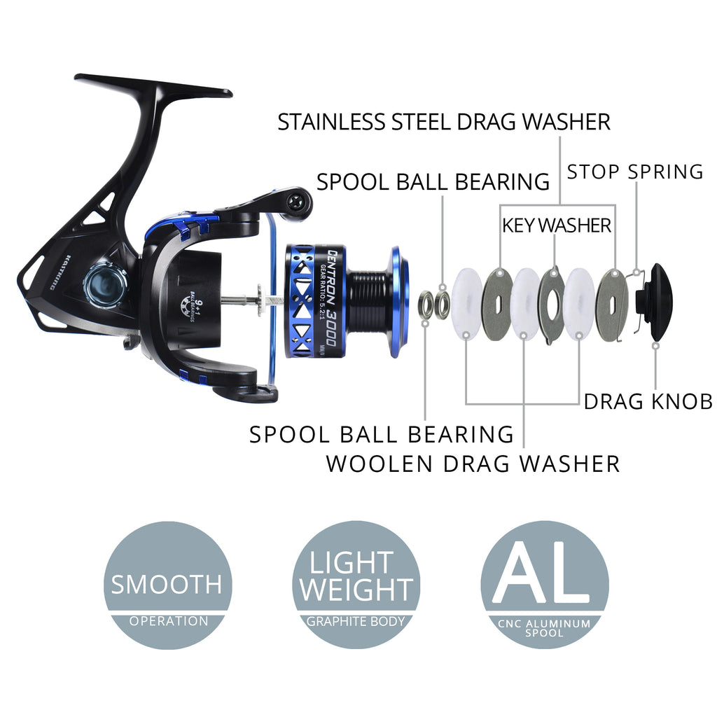 KastKing Centron Low Profile Freshwater Spinning Reel Max Drag 8KG Carp Fishing Reel for Bass Winter Fishing 500-5000 Series