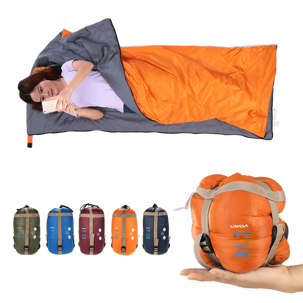 Lixada 190*75cm Camping Envelope Sleeping Bag Ultralight Travel Mini Lazy Bags With Compression