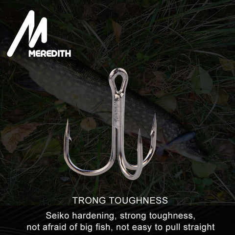 MEREDITH 20Pcs/lot Fishing Hooks High Steel Carbon Material Treble Fishing Hook Round Folded Saltwater Bass 4# 6# 8# Tackle Tool