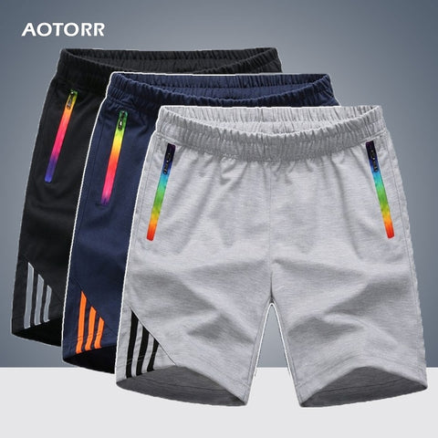 Mens Shorts Summer Sportswear Men Zipper Pocket Casual Comfort Striped Swearpants Breathable