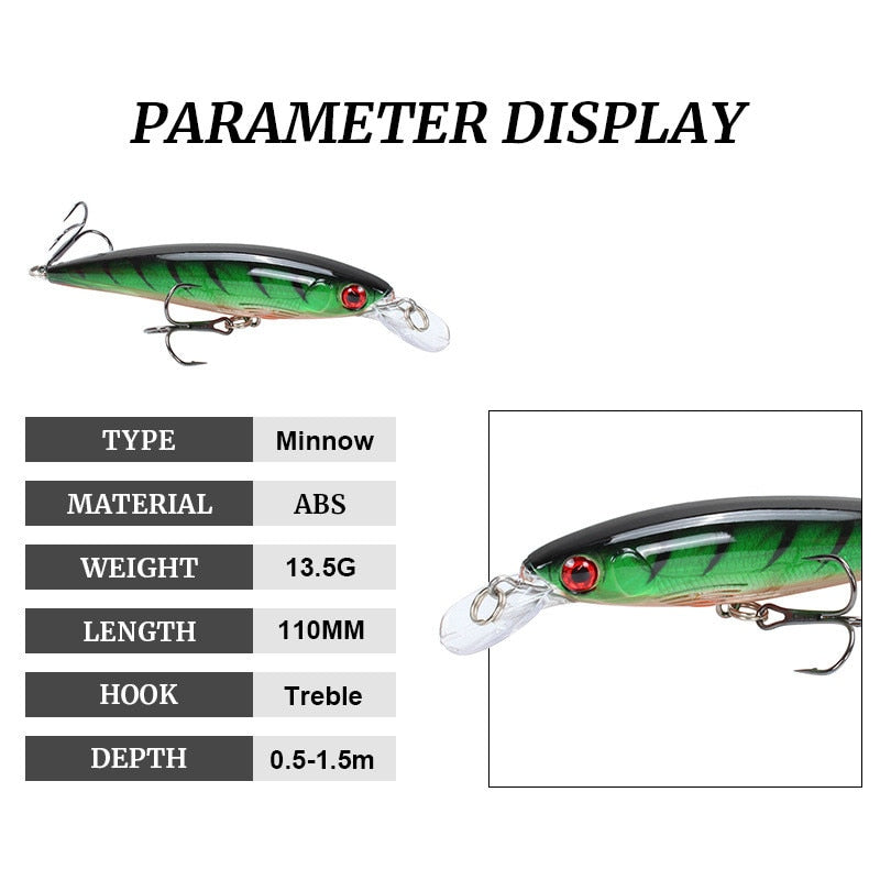 Minnow Fishing Lure 11cm 7.5cm sinking Wobblers Pesca Artificial Hard Bait 3 Hook Crankbait Bass carp Lures Fishing Tackle