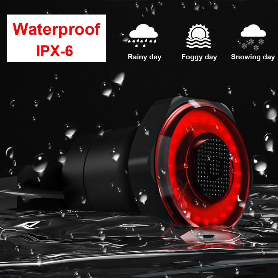 NEWBOLER Auto Start/Stop Flashlight For Bicycle Bike Rear Light Brake Sensing IPx6 Waterproof LED