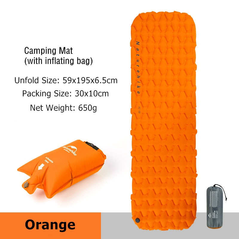 Naturehike Inflatable Mattress Ultralight Sleeping Pad Portable Single Camping Mat Air Mattress