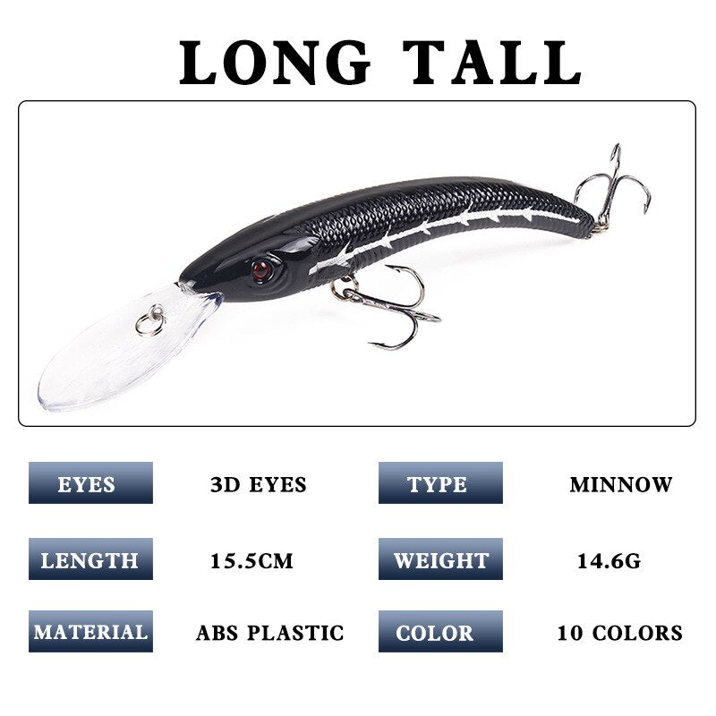 1 PCS 15.5cm / 16.3g Wobbler Fishing Lure Big Crank Bait Minnow Bass Trolling Artificial Bait Pike Carp Lures Fishing