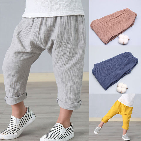 Summer Solid Color Linen Pleated Children Ankle-length Pants for Baby Boys Pants Harem Pants for