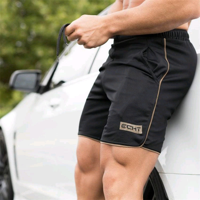 New Men Fitness Bodybuilding Shorts Man Summer  Workout Male Breathable Mesh Quick Dry Sportswear