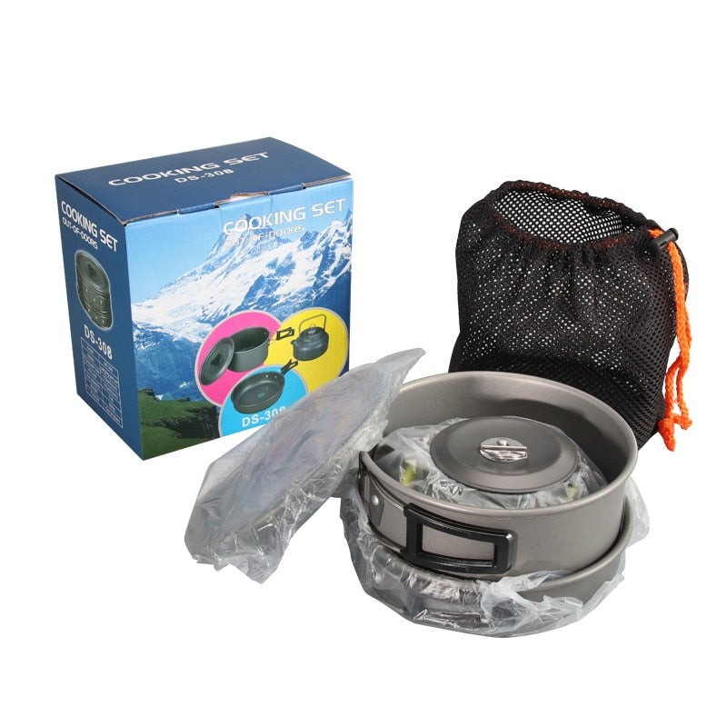 Outdoor Camping Portable Aluminum Alloy Cookware Utensils Kettle Pot Frying Pan Cooking Tableware