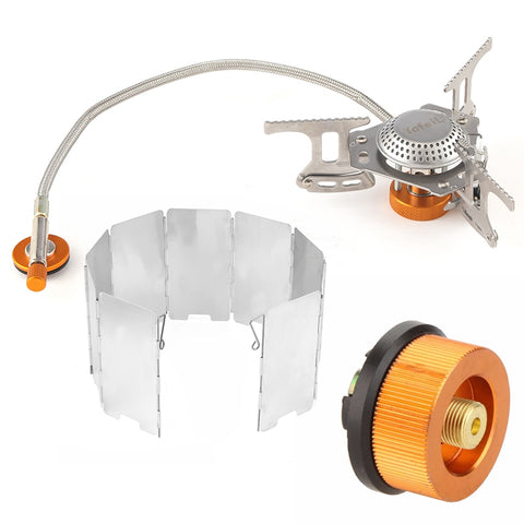 Outdoor Camping Portable Gas Cooker Stove For Camping Hiking Accessories Adapter For Filling Gas