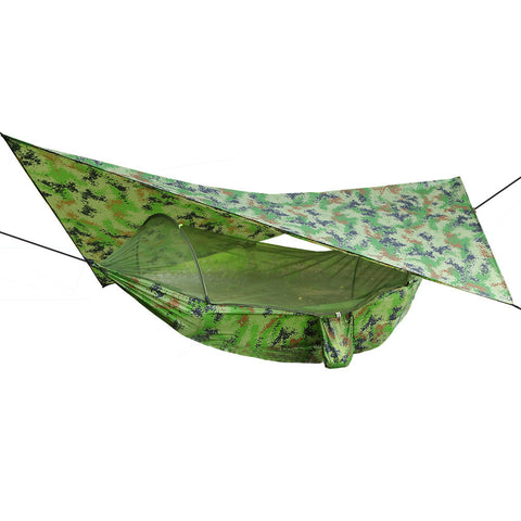 Outdoor Pop-Up Netting Hammock Tent With Waterproof Canopy Awning Set  Automatic Quick Opening