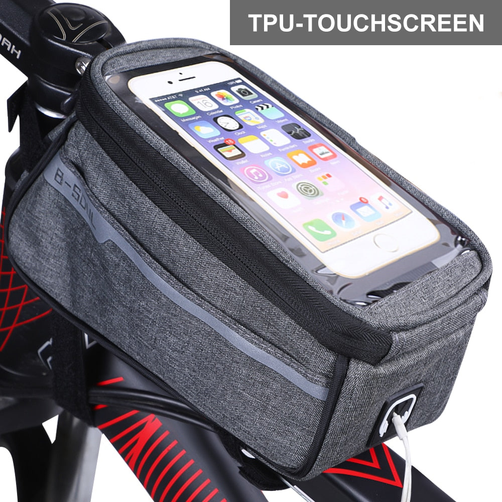 PU Material Waterproof Bicycle Bag Bike Frame Front Top Tube Bag Touch Screen for Moilbe Phone MTB Moutain Road Bike Bag