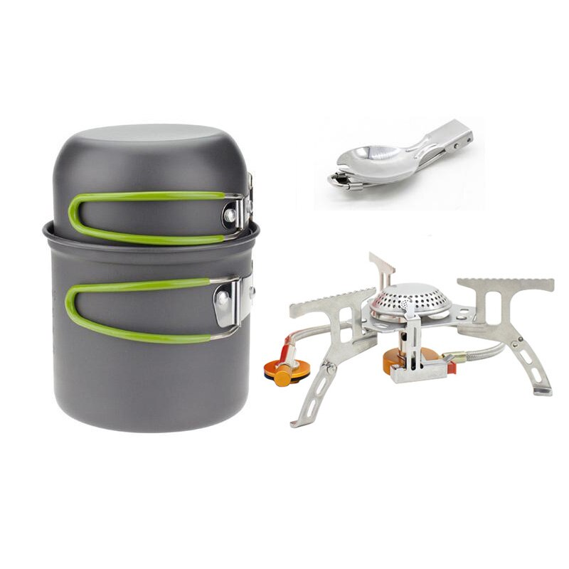 Portable Outdoor Picnic Hiking Camping 1-2 Person Cookware Set Pot and Gas Stove Combinate Cooker