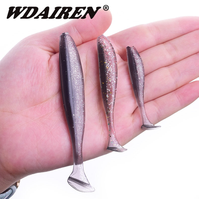 Proleurre Jigging Wobblers Fishing Lure 95mm 75mm 50mm shad T-tail soft bait Aritificial Silicone Lures Bass Pike Fishing Tackle