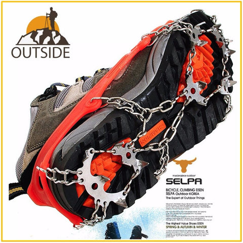 Quality Outdoor Climbing Antiskid Crampons Winter Walk 18 Teeth Ice Fishing Snowshoes Manganese