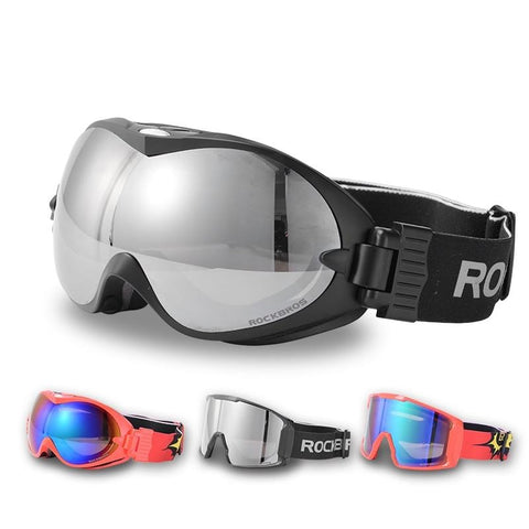 ROCKBROS Anti-Fog Ski Goggles Double Layers Skiing Glasses UV400 Snowboard Goggles PC Lens Big