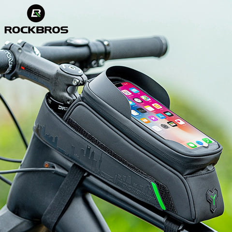 ROCKBROS Bicycle Bag Front Tube Bike Phone Bag Touch Screen Saddle Bag Waterproof Cycling Frame