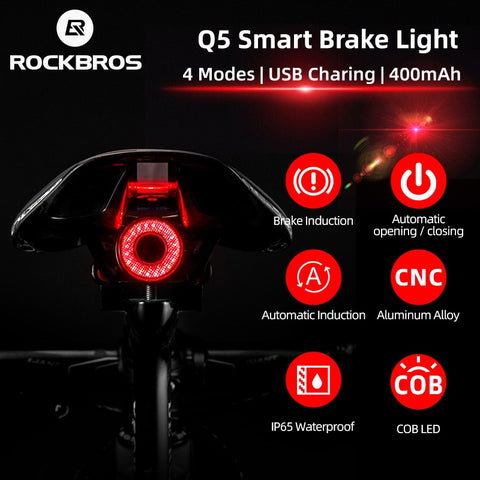 ROCKBROS Bicycle Smart Auto Brake Sensing Light IPx6 Waterproof LED Charging Cycling Taillight