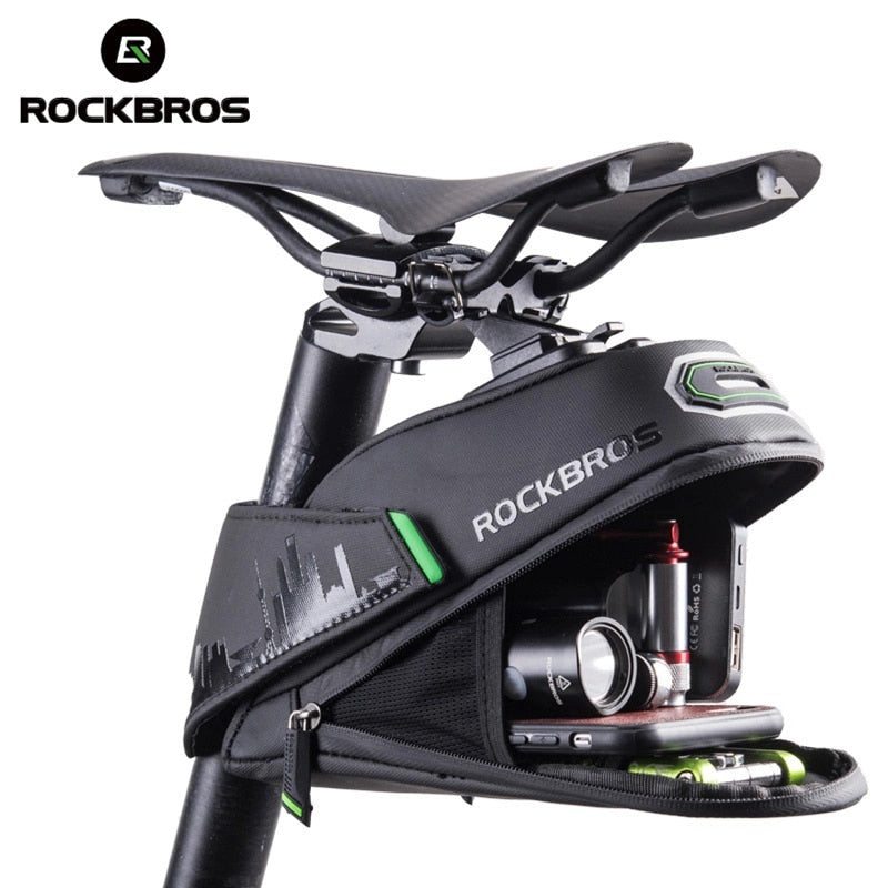 ROCKBROS Rainproof Bicycle Bag Shockproof Bike Saddle Bag For Refletive Rear Large Capatity Seatpost MTB Bike Bag Accessories