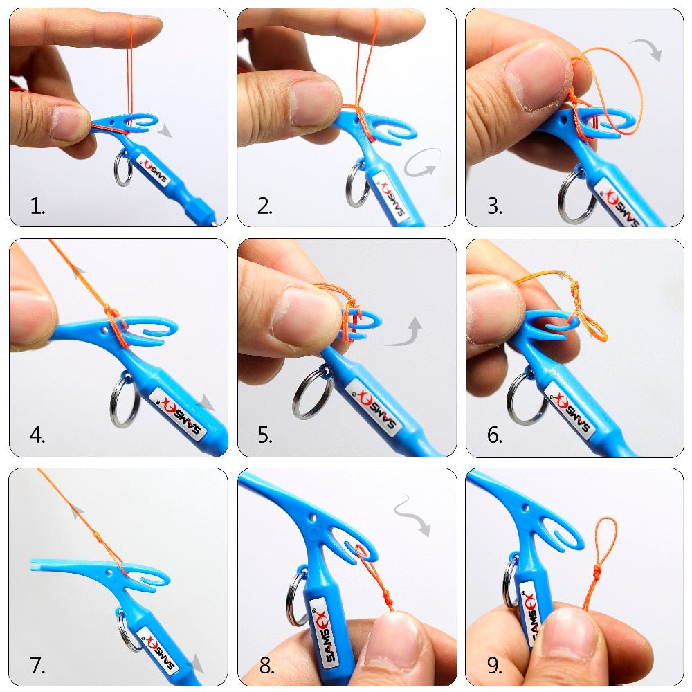 SAMSFX Fly Fishing Quick Knot Tool Universal Nail Knot Tying Tools Loop Tyer Pen Shape Hook Remover Multi Tackle Accessories