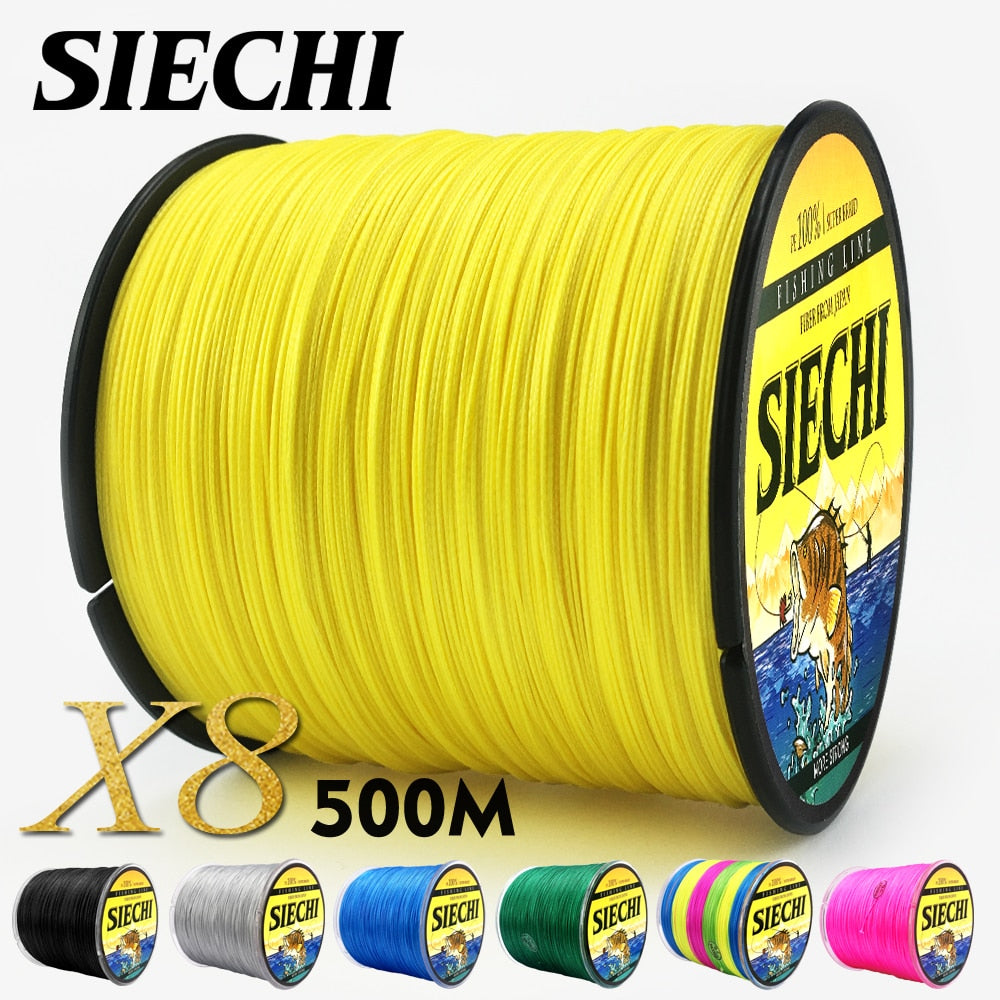 SIECHI PE Braided Fishing Line Multifilament 500M 8 Strands Cord Carp Fishing Lines For Saltwater 20