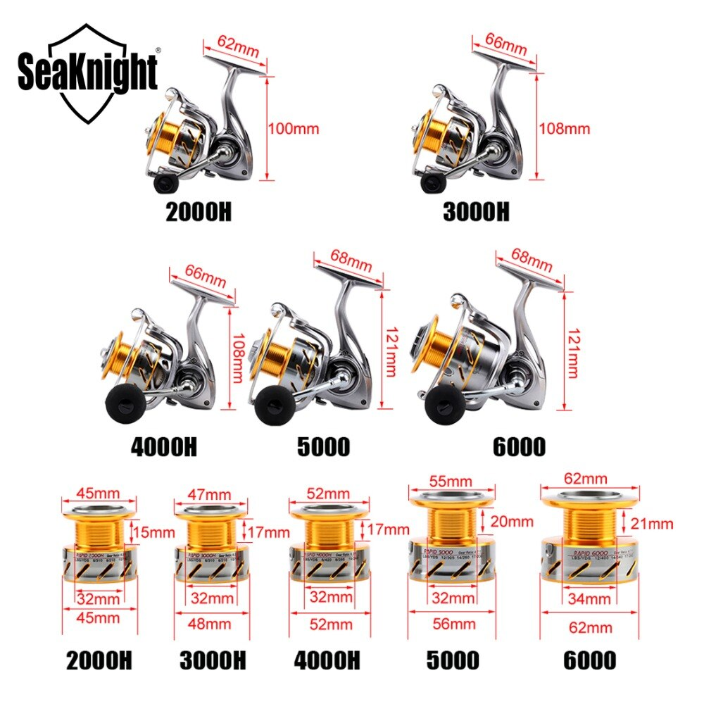 SeaKnight RAPID 6.2:1 4.7:1 Anti-corrosion 2000H 3000H 4000H 5000 6000 Spinning Fishing Reel 11BB Saltwater Fishing Reel Wheel