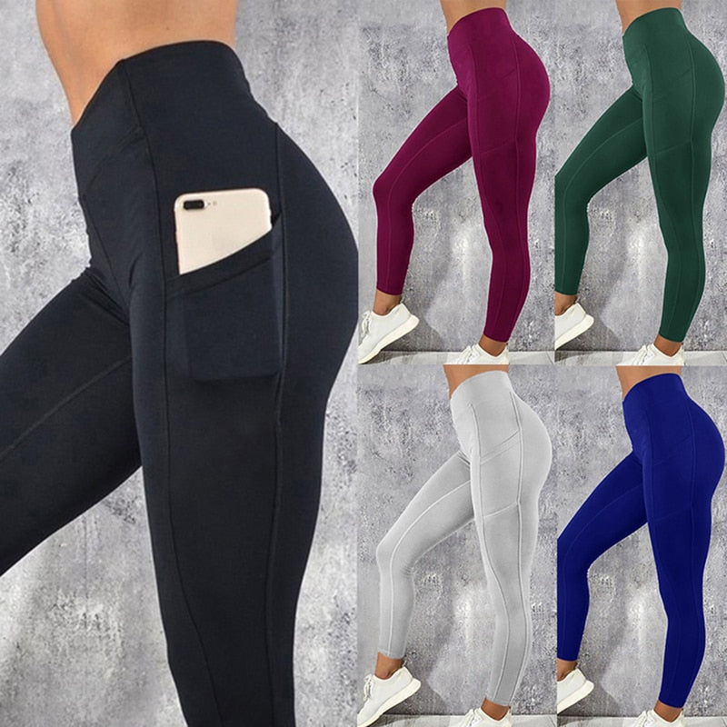 Sexy Fitness Women Gym Leggings Push Up High Waist Pocket Workout Slim Leggins Fashion Casual