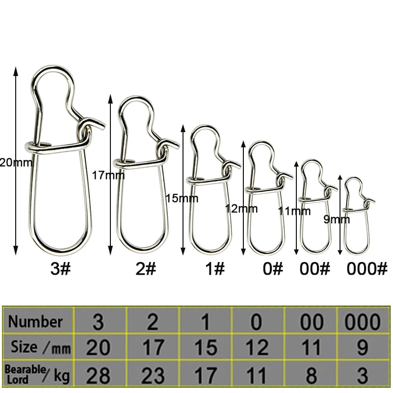 Simpleyi 50pcs Stainless Steel Fishing Connector Hooked Snap  Barrel Swivel Hook Lure Carp Tool Accessories Goods For Fishing