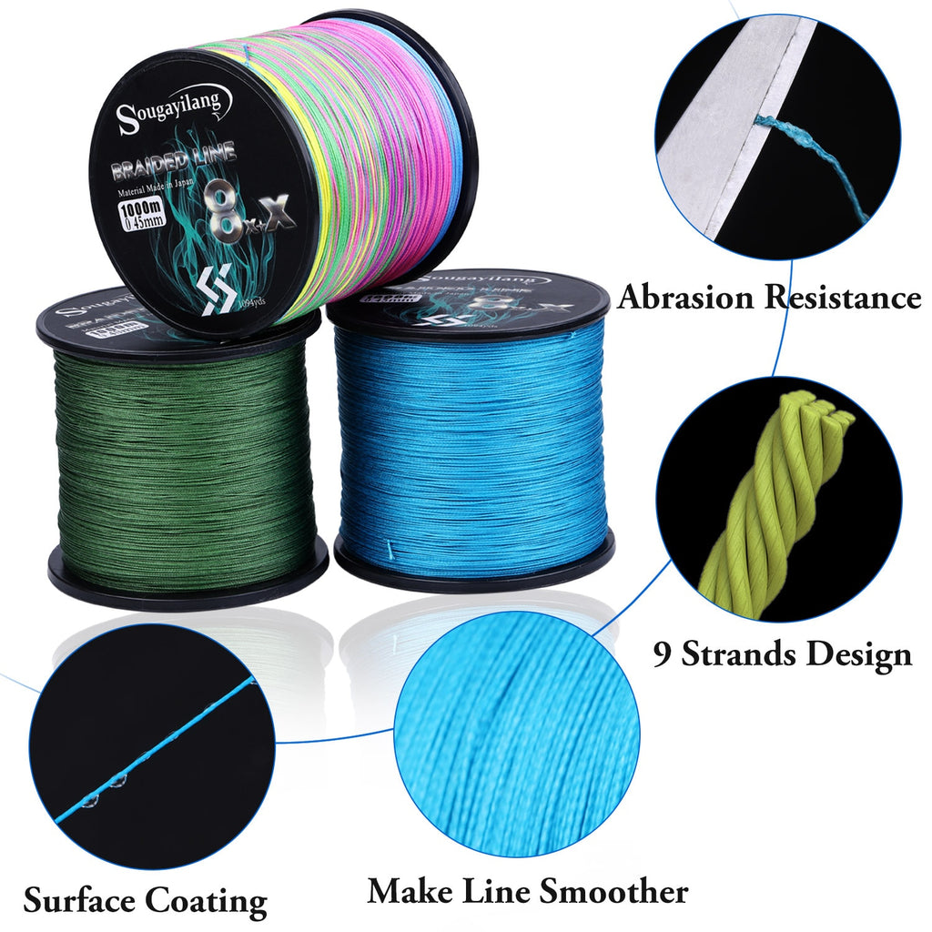 Sougayilang New 9 Strands Strong PE Fishing Line 300M 500M 1000M  Strong Abrasion Resistance