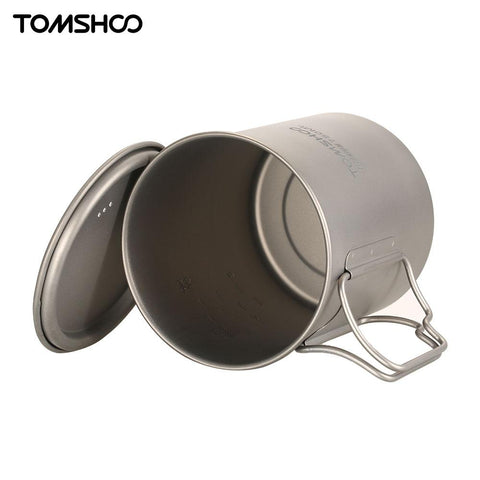 TOMSHOO 750ml Ultralight Titanium Cup Cookware Outdoor Portable Water Cup Mug Tableware Cooking