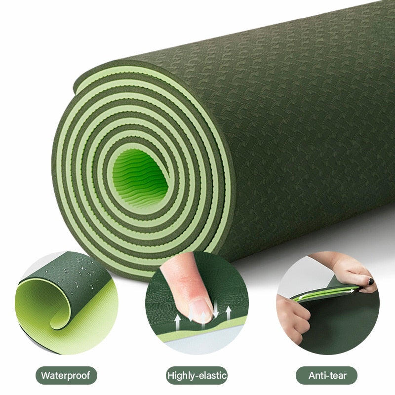 TPE Yoga Double Layer Non-Slip Mat Yoga Exercise Pad with Position Line For Fitness Gymnastics and