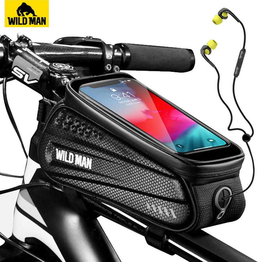 WILD MAN Rainproof Bicycle Bag Frame Front Top Tube Cycling Bag Reflective 6.5in Phone Case