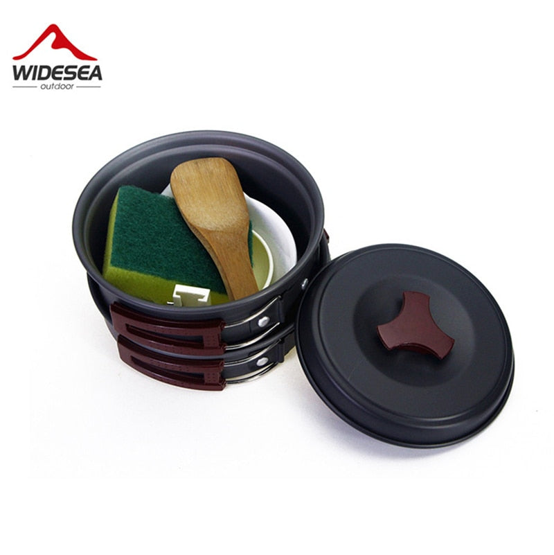 Widesea 1-2 persons camping tableware outdoor cookware picnic set travel tableware  Non-stick Pots