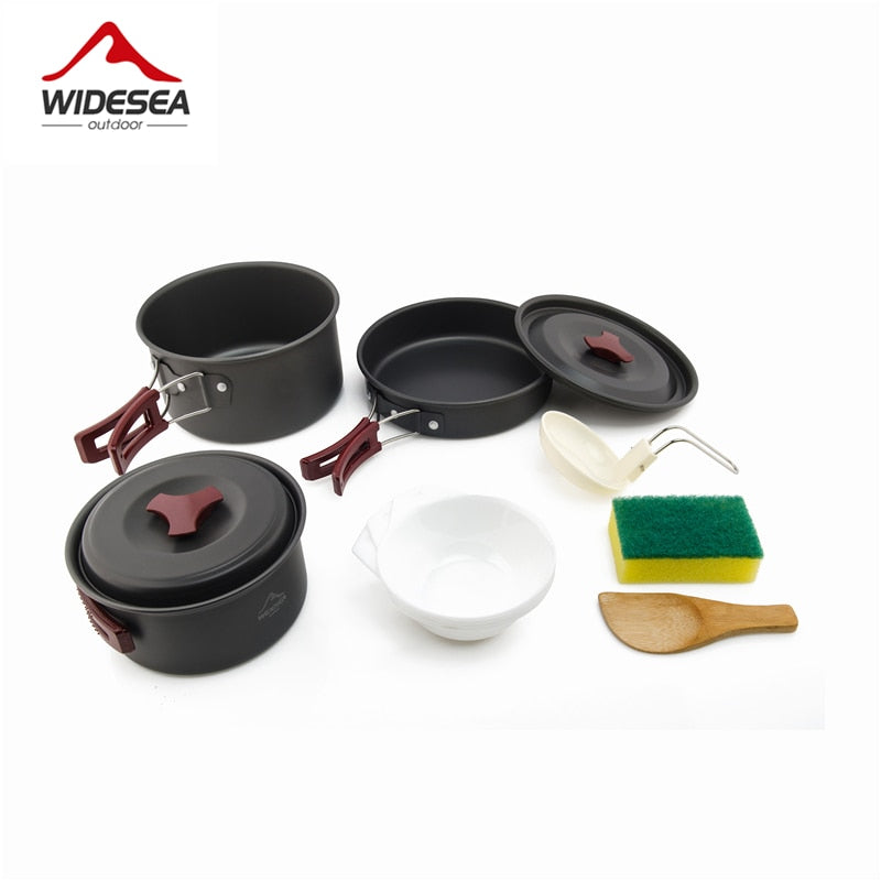 Widesea 2-3 camping tableware picnic set travel tableware outdoor kitchen cooking set camping