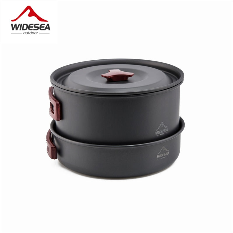 Widesea 4-5 persons camping tableware outdoor cooking set camping cookware  travel tableware pots