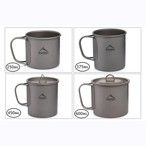 Widesea Camping Mug Titanium Cup Tourist Tableware Picnic Utensils Outdoor Kitchen Equipment