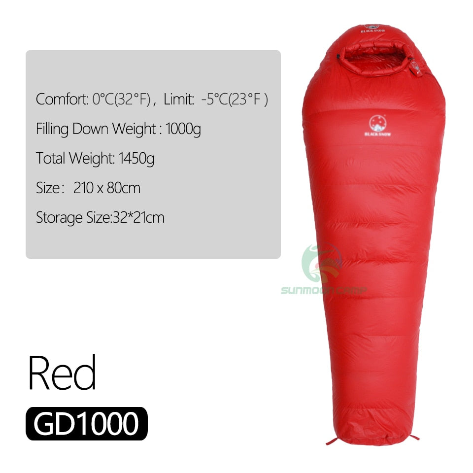 Winter Ultralight Thermal Adult Mummy 95% White Goose Down Sleeping Bag Sack W/ Compression Pack