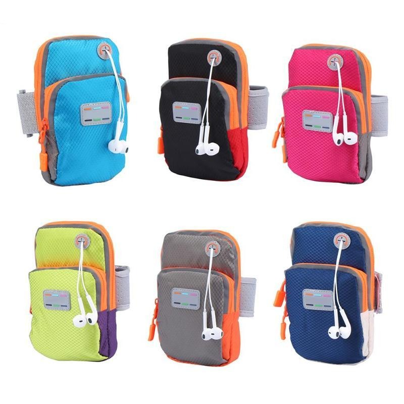 Women Men Sport Armband Cases Zippered Running Phone Arm Band Bags Pouch Headset Hole Portable Purse